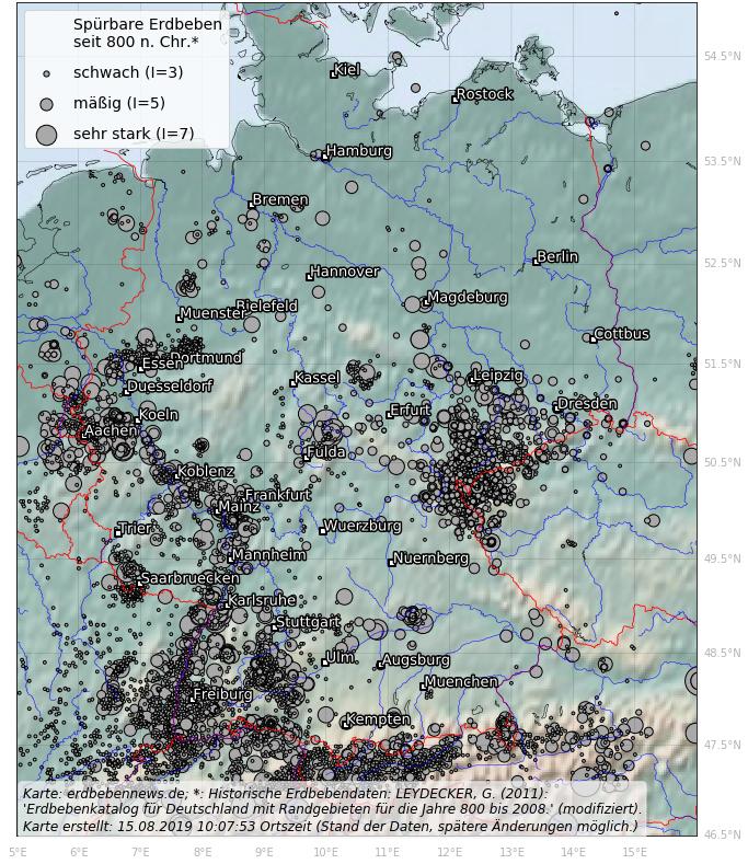 Aktuelle Erdbeben in Deutschland 2021