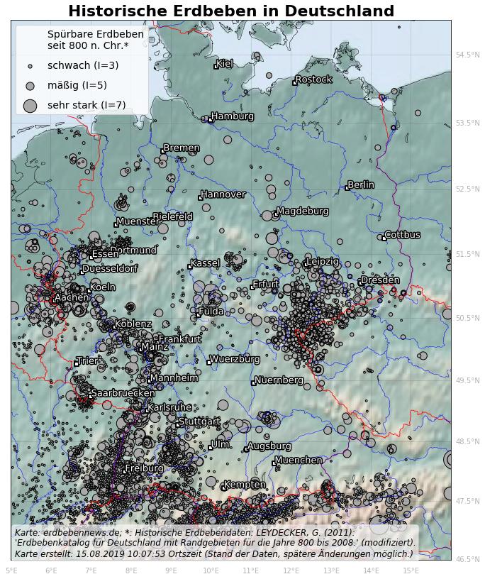Karte aller bekannten spürbaren historischen Erdbeben in Deutschland und angrenzenden Gebieten seit 800 nach Christus. Daten: Leydecker 2011
