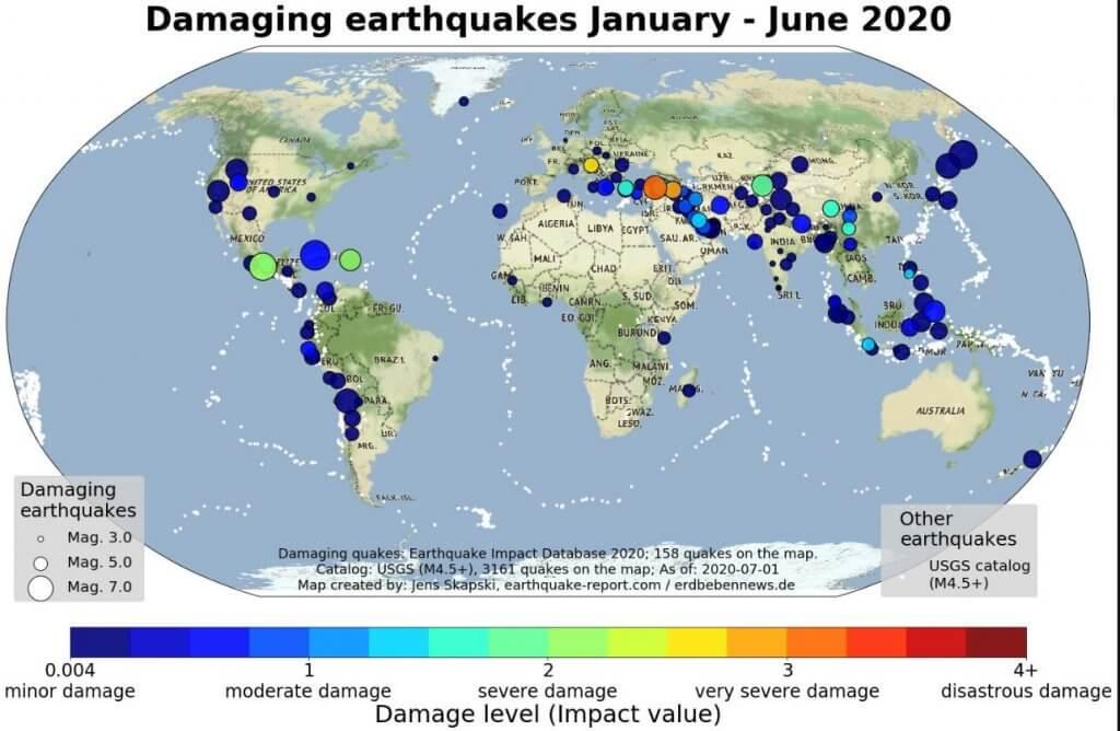 Schadensbeben Januar bis Juni 2020