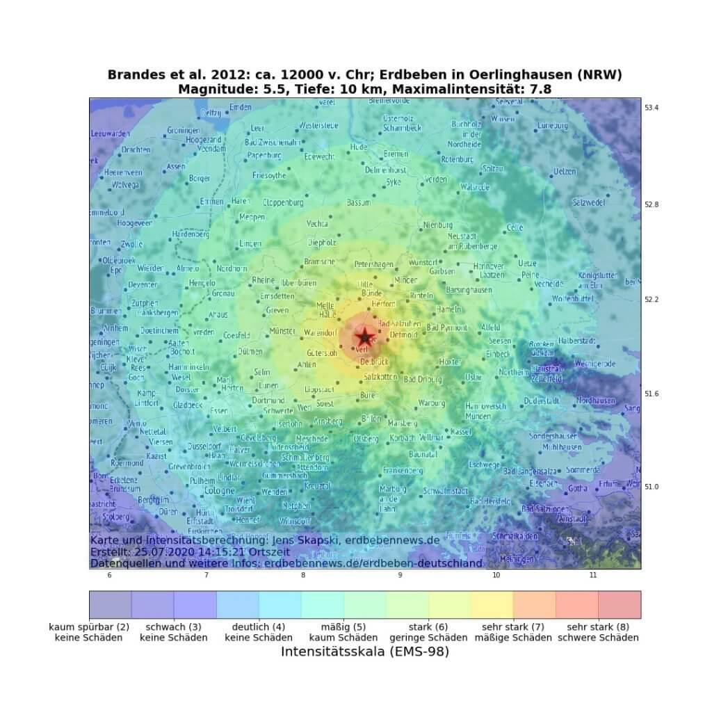 Berechnete Auswirkungen (ShakeMap) des historischen Erdbebens in Bielefeld
