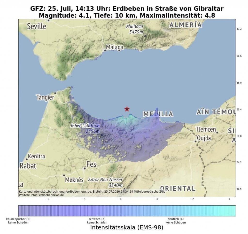 Erdbeben Marokko am 25. Juli 2020