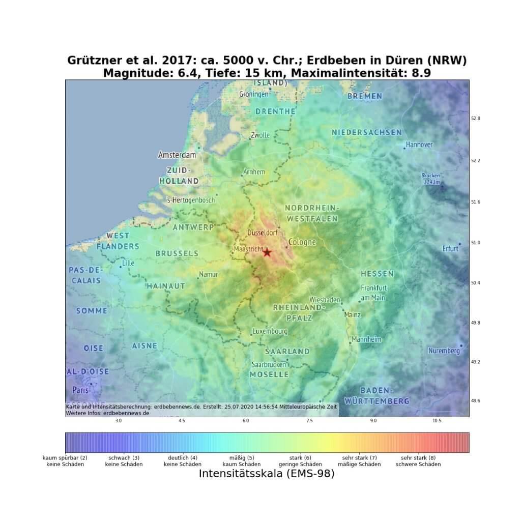 ShakeMap des schweren historischen Erdbebens vor rund 7000 Jahren in Düren
