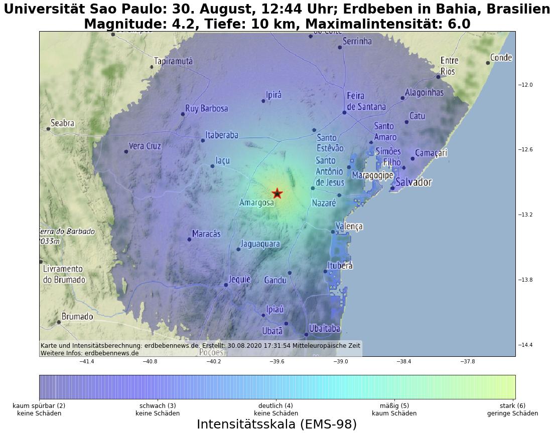Ein Erdbeben hat den Osten Brasiliens erschüttert.