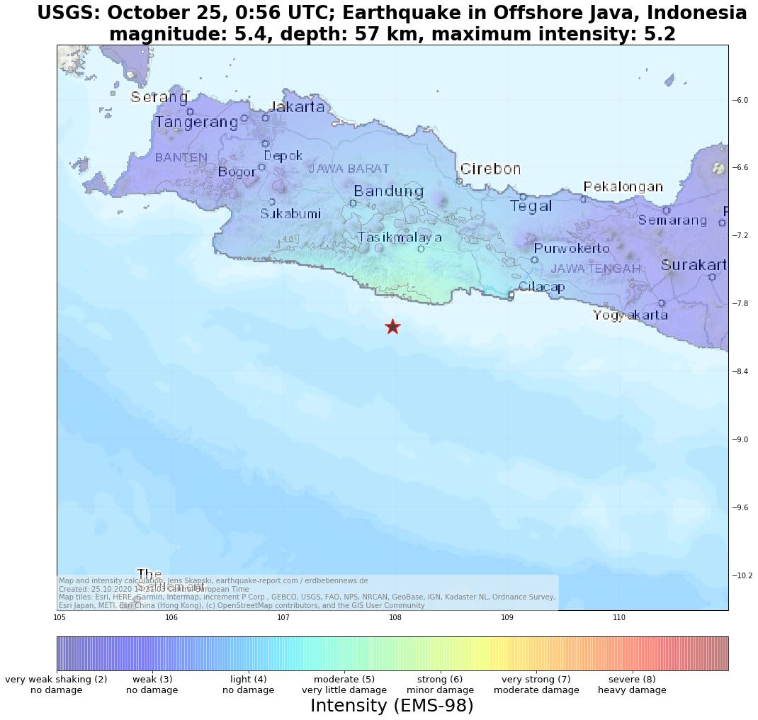 Ein starkes Erdbeben hat Java erschüttert.