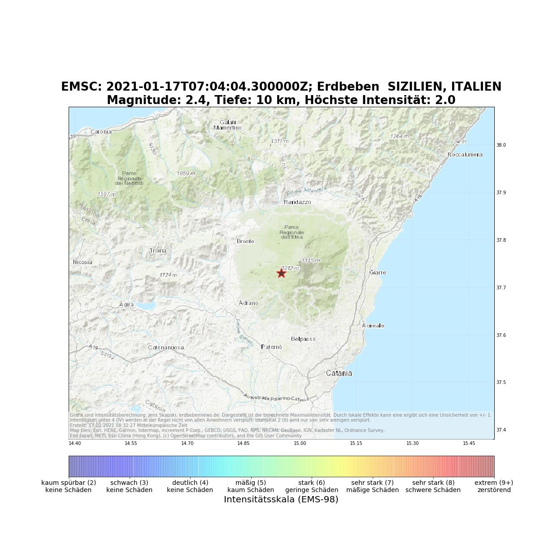 17.1.2021, 7:04 UTC: Erdbeben (M2.4) SIZILIEN, ITALIEN ...