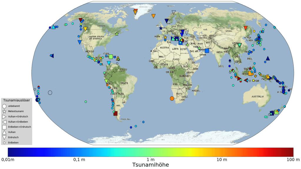 Weltkarte aktueller Tsunamis