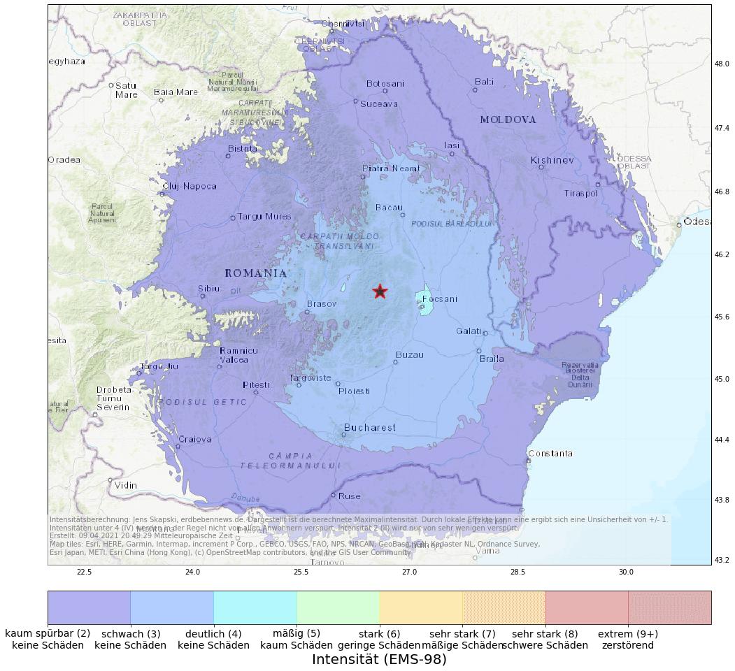 9. April, 20:36 Uhr: Erdbeben (M4.8) Rumänien | Erdbebennews